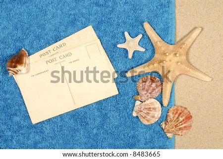 Post card, beach background, travel concept, copy space.