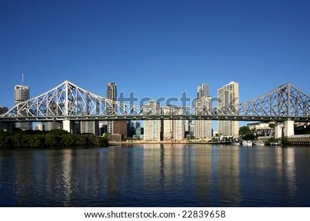 Post card image of Brisbane  Australia forground  Story Bridge - stock photo