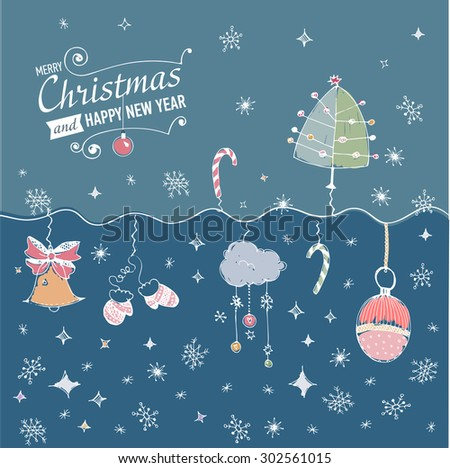 Post card with hand drawn christmas doodle. JPG version. - stock photo