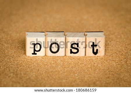 Post Concept, Alphabet stamp on a cork board