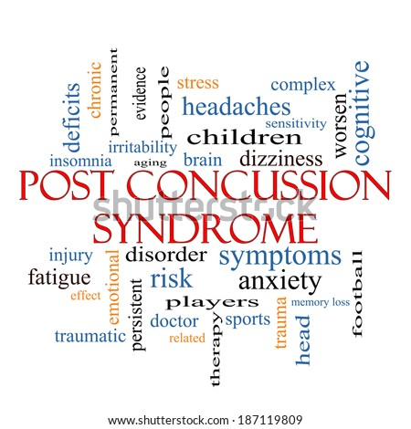 Post Concussion Syndrome Word Cloud Concept with great terms such as brain, injury, trauma and more. - stock photo