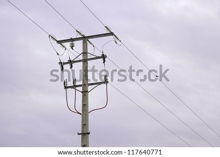Post electric, detail with bird, transport energy - stock photo