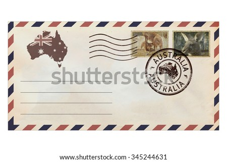 Post envelope with postage stamps of Australia and Australian continental and ocean fauna. Post envelope with Australia nature symbols. Vintage style. Isolated on a white background - stock photo