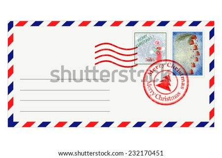 Post envelope with special Christmas stamps - stock photo