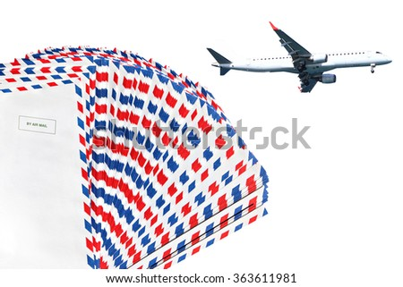 Post envelopes and plane. Air mail theme.  - stock photo