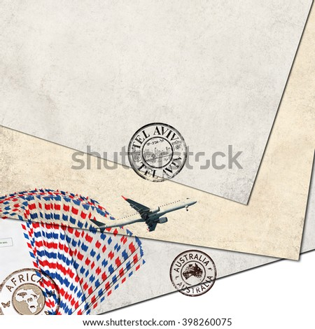 Post envelopes, plane and post stamps. Old paper sheets background with copy space. Air mail theme - stock photo