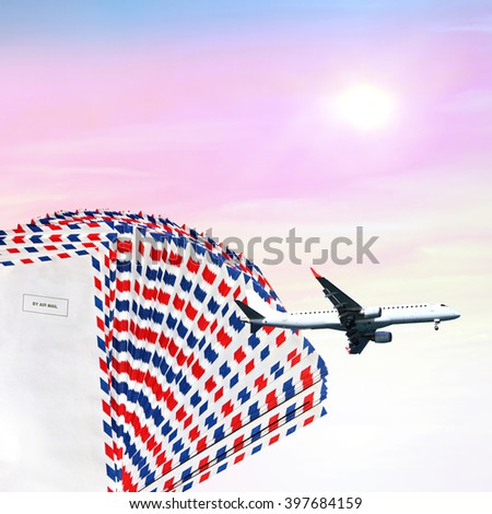 Post envelopes, plane at sunrise background. Air mail theme - stock photo