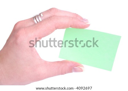 Post-It and hand a over white background - stock photo