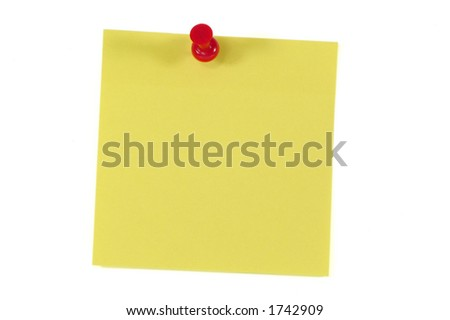 Post-It Note and Push Pin. Isolated on White with Clipping Path - stock photo