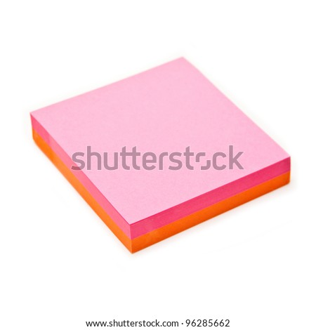 Post-it note isolated on a white studio background.