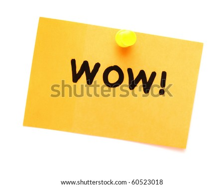 post it note with hand printed wow isolated - stock photo