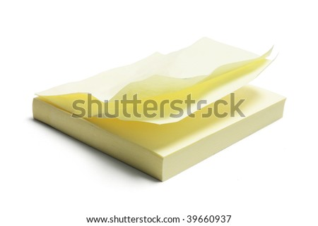 Post It Notepad on White Background