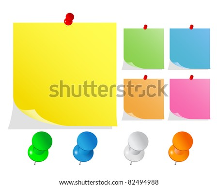 Post-It Notes with Push Pins - stock photo