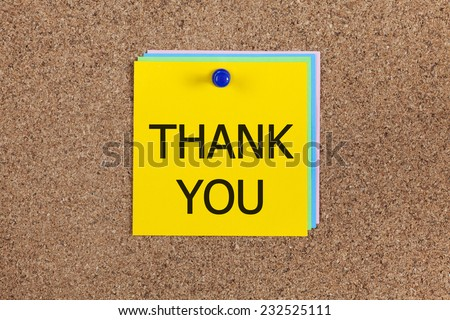 """Post-it notes with word """"Thank you"""" on corkboard (bulletin board). - stock photo"""