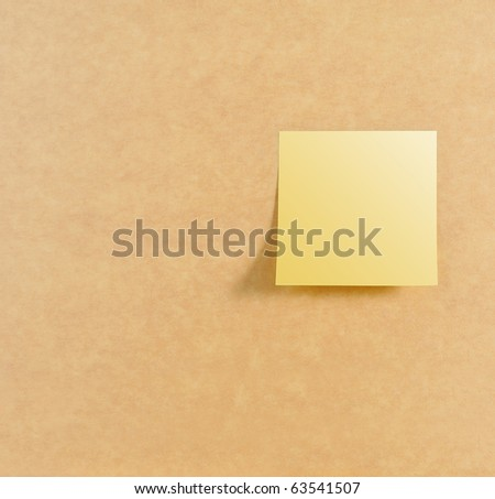 Post it on right of brown board texture - stock photo