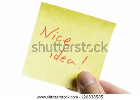 post-it to nice idea - stock photo