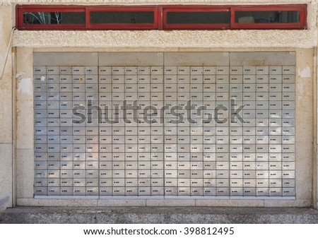 Post office mail boxes wall