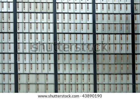 post offix boxes letterboxes metal with brown numbers - stock photo