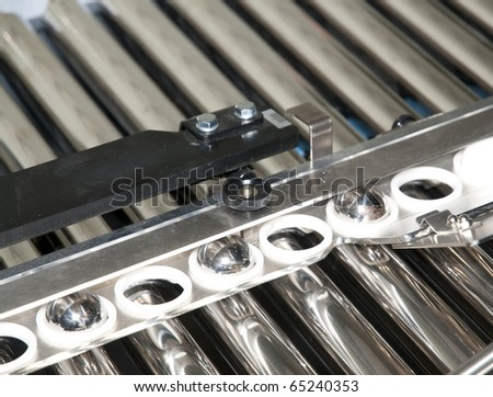 Post press finishing line: cutting, trimming, paperback and binding - stock photo