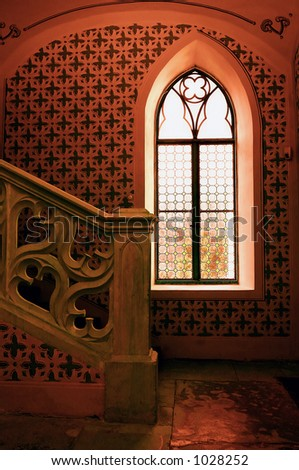post processed toned old castle window, grain preserved for the details - stock photo
