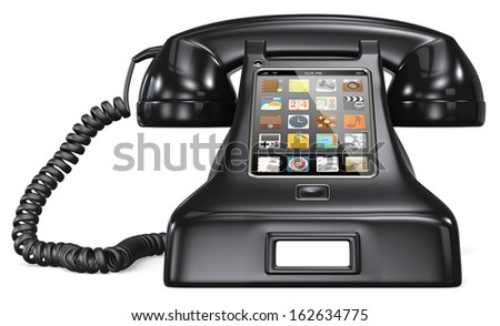 Post retro telephone. Black retro telephone with smartphone touch screen and apps.