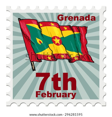 post stamp of national day of Grenada