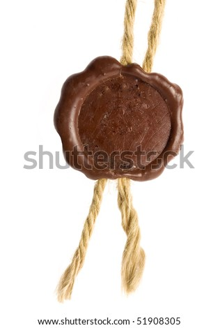 Post stamps icon , Empty seal wax with the cord isolated on white - stock photo