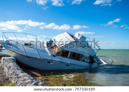 Post storm, ship wrecked boat.