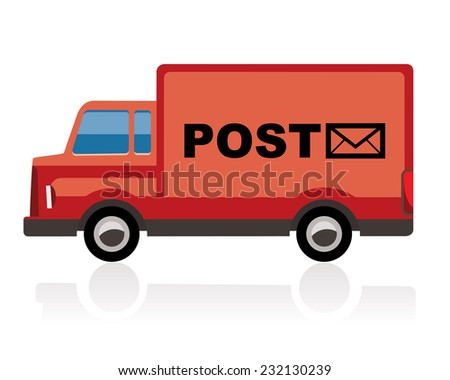 post truck, red color - stock photo