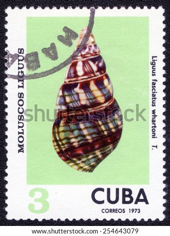 Postage stamp Cuba 1978 Liguus Fasciatus Fasciatus Whartoni, Shell - stock photo