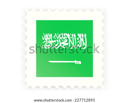 Postage stamp icon of saudi arabia isolated on white