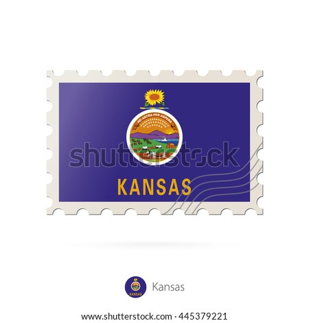 Postage stamp with the image of Kansas state flag. Raster copy.