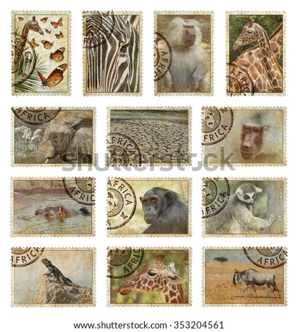 Postage stamps with Africa animals and nature symbols. Vintage style. Africa protect wild life concept. Isolated on a white background - stock photo