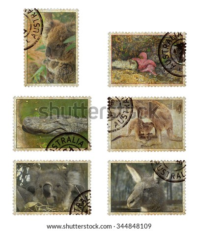 Postage stamps with Australia animals symbols. Vintage style. Isolated on a white background - stock photo