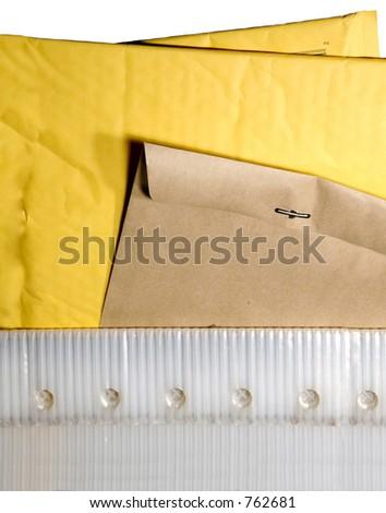 Postal case with envelopes - stock photo