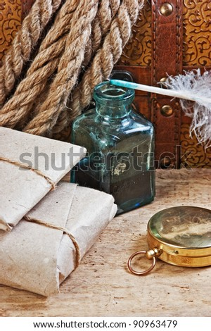 postal parcel, tobacco pipe and inkwell,  still life