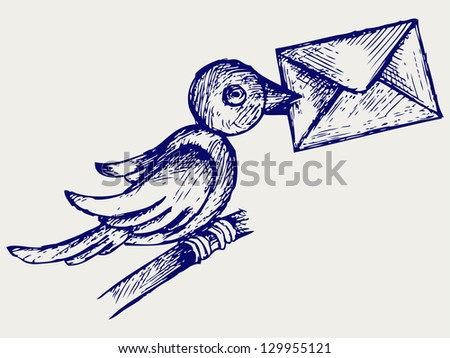 Postal pigeon. Doodle style. Raster version - stock photo