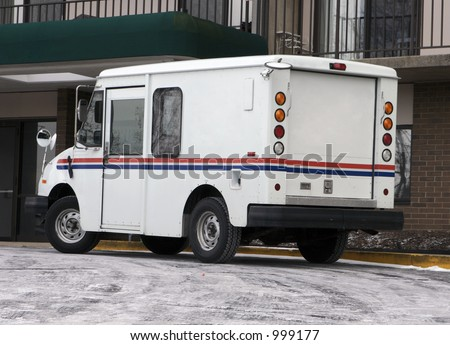 Postal Truck Delivering Mail - stock photo