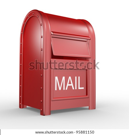 Postbox (mail box - letterbox) isolated on white background. 3d illustration - stock photo