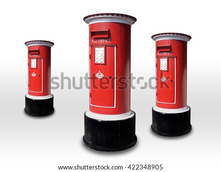 Postbox red isolated on white background
