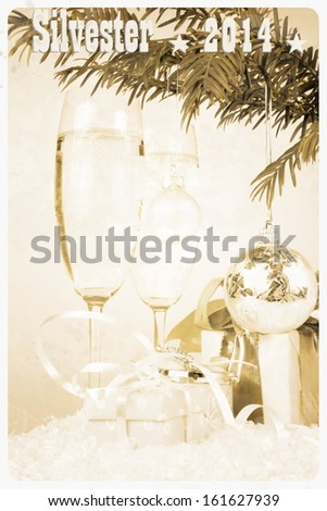 Postcard - champagne glass, gift, christmas, tree with ball, illustration - stock photo