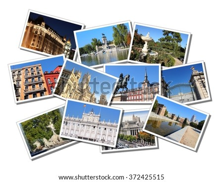 Postcard collage from Madrid, Spain. Collage includes major landmarks like Plaza Mayor, Retiro Park, Debod temple and Palace. - stock photo