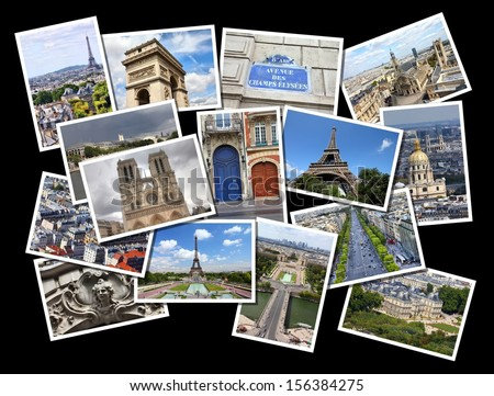 Postcard collage from Paris, France. Collage includes major landmarks like Eiffel Tower, Notre Dame, Trocadero and Champs Elysees. - stock photo