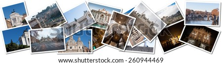 Postcard collage from Rome, Italy. The main attractions - stock photo