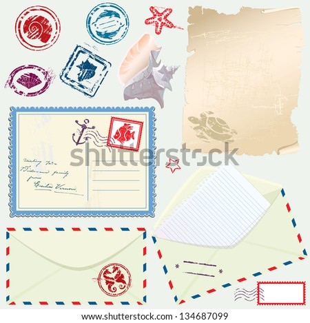 Postcard, envelope and paper with Retro nautical Stamps - for design and scrapbook. Raster version