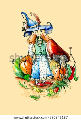 Postcard Fairy Harvest Watercolor On An Isolated White Background Vintage Drawing Witch Hat