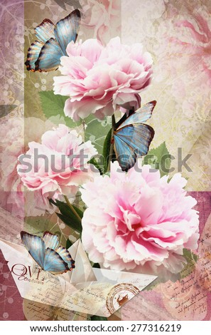 Postcard flower. Congratulations card with peonies, butterflies and paper boat. Beautiful spring pink flower. Can be used as greeting card, invitation for wedding, birthday and other holiday happening - stock photo