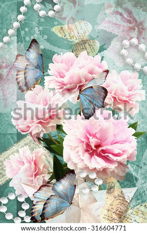 Postcard flower. Congratulations card with peonies, butterflies and pearls. Beautiful spring pink flower. Can be used as greeting card, invitation for wedding, birthday and other holiday happening. - stock photo