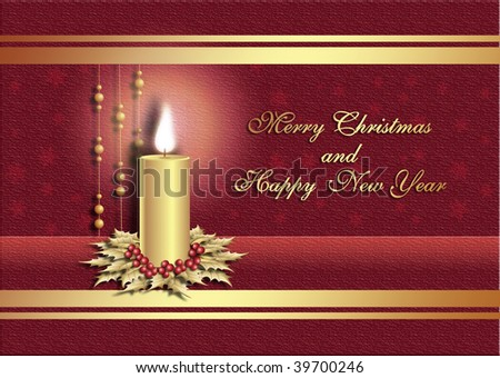 Postcard for Christmas with candle on red background