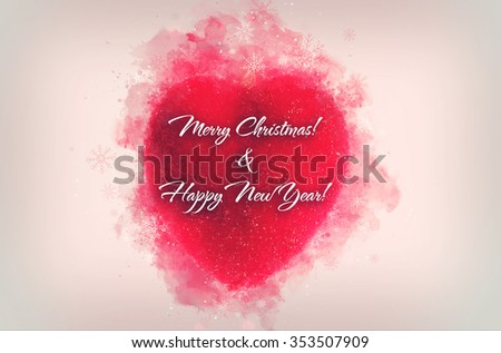 Postcard for New Year and Christmas holidays, family or business greeting card. Decorative one red heart ornament  for Christmas or New Year isolated on white with copyspace - stock photo